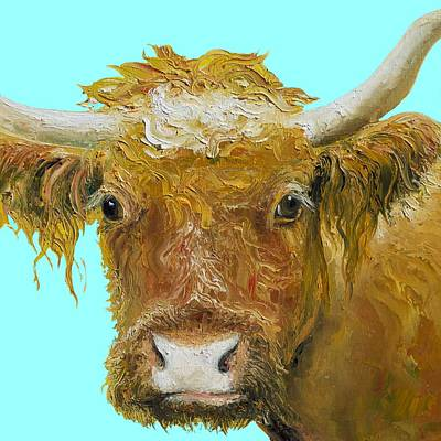 Cow Painting - Horned Cow Painting On Blue Background by Jan Matson