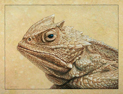 Reptiles Drawing - Horned Toad by James W Johnson