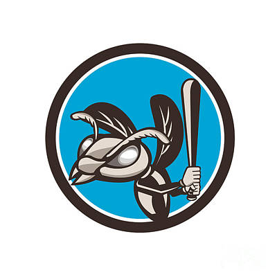 Wasp.insect Digital Art - Hornet Baseball Player Batting Circle Retro by Aloysius Patrimonio