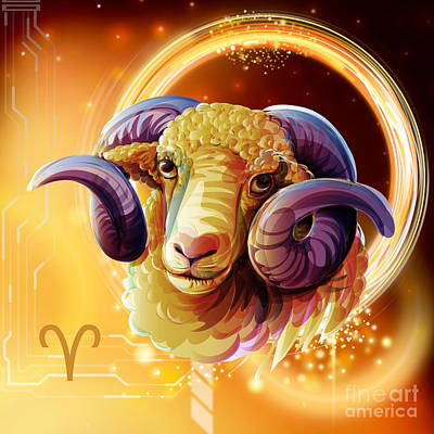 Constellation Mixed Media - Horoscope Signs-aries by Bedros Awak