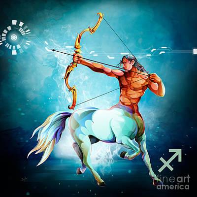 Goat Mixed Media - Horoscope Signs-sagittarius by Bedros Awak