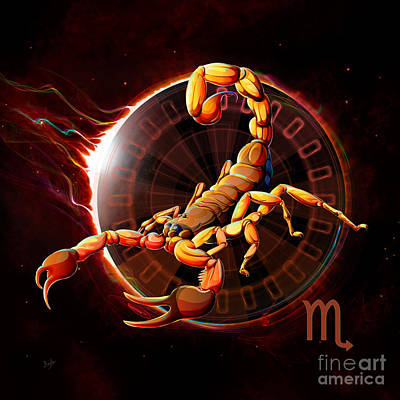Constellation Mixed Media - Horoscope Signs-scorpio by Bedros Awak