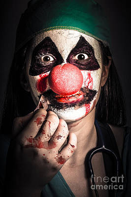 Horror Clown Girl In Silence With Stitched Lips Print by Jorgo Photography - Wall Art Gallery