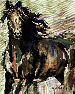 Country And Western Drawing - Horse Abstracted by Carole Jacobs