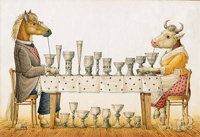 Horse And Cow Print by Kestutis Kasparavicius