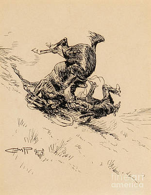 Cowboy Painting - Horse And Cowboy Tumbling Downhill  by Celestial Images