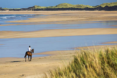 Horse And Rider On Beach With Grassy Print by Michael Interisano