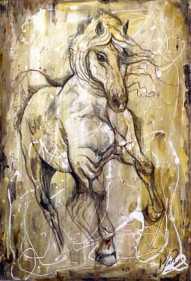 Textured Horse Art Drawing - Horse Art - Leonardo Da Vinci Style by Paco Rocha