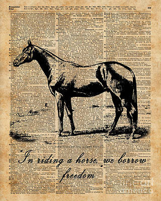 Horse Champion Colt Over Vintage Dictionary Page Print by Jacob Kuch