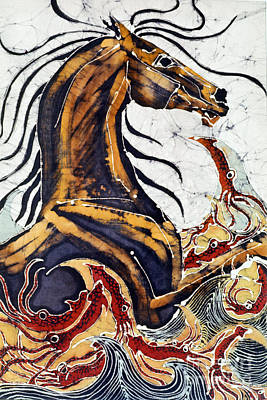 Horse Dances In Sea With Squid Print by Carol Law Conklin