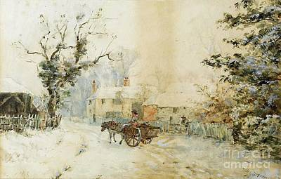 Horse Drawn Carriage Painting - Horse Drawn Carriage In The Snow by Henry Towneley