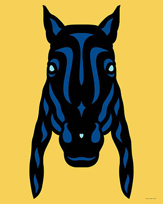 Animals Mixed Media - Horse Face Rick - Horse Pop Art - Primrose Yellow, Lapis Blue, Island Paradise Blue by Manuel Sueess