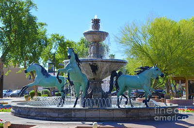 Horse Fountain - Old Town Scottsdale Print by Mary Deal