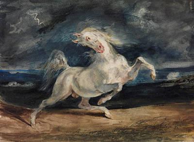 Horse Frightened By Lightning  Print by Eugene Delacroix