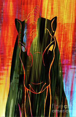 Digital Abstract Drawing - Horse Head by Robert Ball