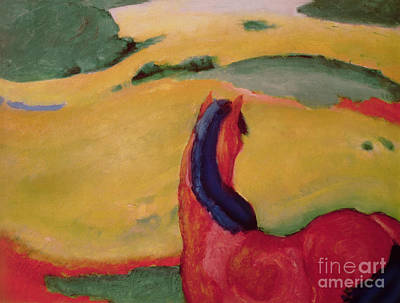 Expressionist Art Painting - Horse In A Landscape by Franz Marc