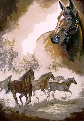 Horse Painting A Dream Of Running Wild Print by Regina Femrite