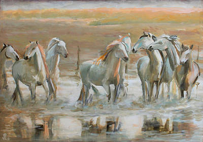 Horse In The Run Painting - Horse Reflection by Vali Irina Ciobanu
