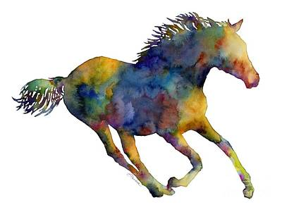 Colorful Abstract Painting - Horse Running by Hailey E Herrera