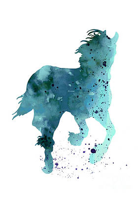 Horse Silhouette Minimalist Painting Print by Joanna Szmerdt