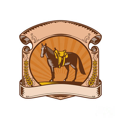 Concho Digital Art - Horse Western Saddle Scroll Woodcut by Aloysius Patrimonio