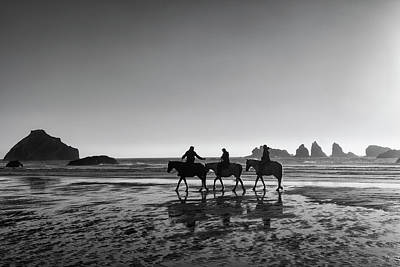 Horseback Storytelling Black And White Print by Mark Kiver