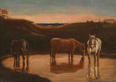 Horses At The Ford Print by Giovanni Segantini