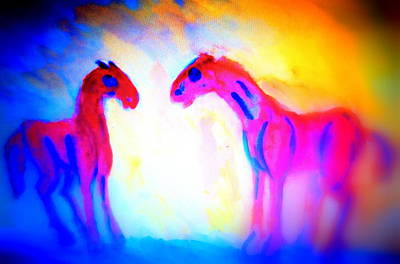 Planetary System Painting - Horses Are Perfectly Happy Without Stupid Riders Telling Them What To Do   by Hilde Widerberg
