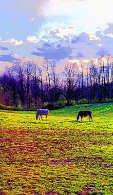 Horses Grazing In Indiana Image Print by Paul Price
