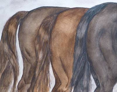 Horse Painting - Horses In The Rear by Kelly Mills