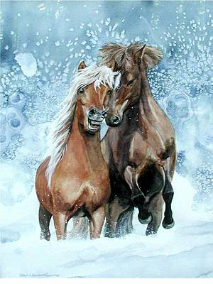 Horses In Winter Print by Virginia Sonntag