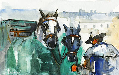 Carriage Painting - Horses by Kristina Vardazaryan