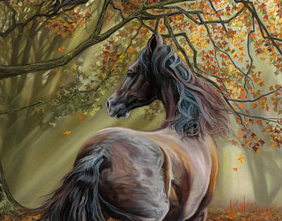 Pastel - Horses Of The Four Seasons - Fall by Kim McElroy
