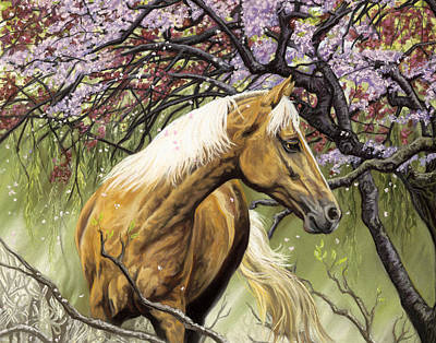 Pastel - Horses Of The Four Seasons - Spring by Kim McElroy