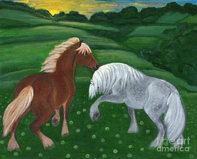 Landskape Painting - Horses Of The Rising Sun by Anna Folkartanna Maciejewska-Dyba