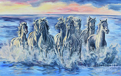 Horses In The Ocean Painting - Horses Of The Sea by Jana Goode