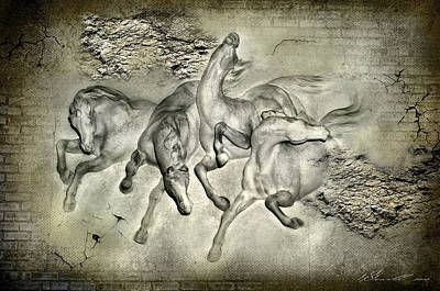 Brick Mixed Media - Horses by Svetlana Sewell