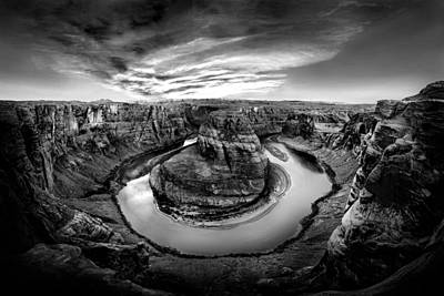 North American Photograph - Horseshoe Bend Bw by Az Jackson