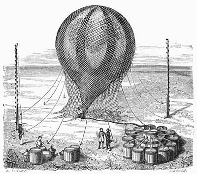 Hot Air Balloon Inflation Print by Granger