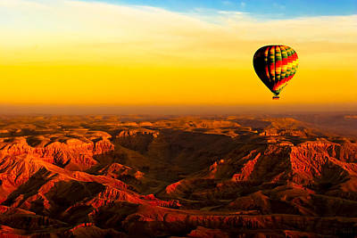 Hot Air Balloon Over Egyptian Valley Of The Kings Print by Mark E Tisdale
