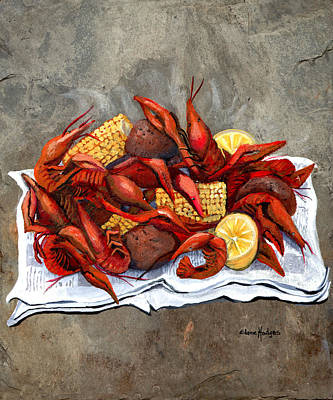 Potato Painting - Hot Crawfish by Elaine Hodges