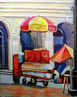 Lucky Dogs Painting - Hot Dog Cart by Tica McGarity