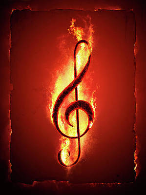 Glowing Digital Art - Hot Music by Johan Swanepoel