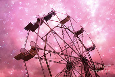 Surreal Ferris Wheel Photograph - Hot Pink Carnival Ferris Wheel Stars And Hearts - Baby Girl Nursery Hot Pink Ferris Wheel Decor by Kathy Fornal