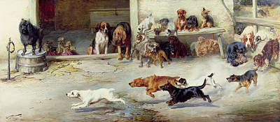 Hot Dogs Painting - Hot Pursuit by William Henry Hamilton Trood