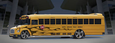 Hot Rod School Bus Print by Mike McGlothlen