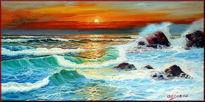 Portofino Italy Painting - Hot Sea Sunset by Orsucci