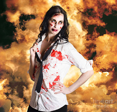 Hot Zombie Business Woman On Fire Background Print by Jorgo Photography - Wall Art Gallery