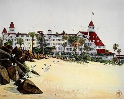 Hotel Del Coronado Painting - Hotel Del Coronado With Rocks by John Yato