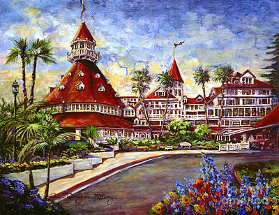Famous Acrylic Landscape Painting - Hotel Del With Flowers by Glenn McNary